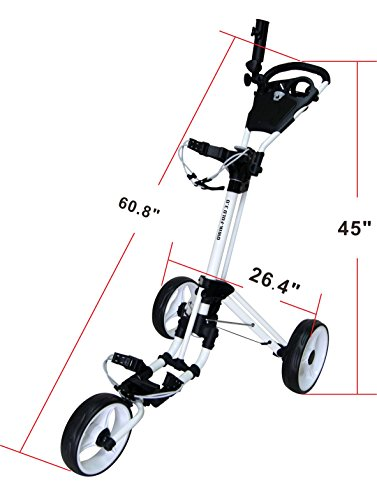 QWIK-FOLD-3-WHEEL-GOLF-TROLLEY-PUSH-PULL-GOLF-CART-FOOT-BRAKE-ONE-SECOND-TO-OPEN-CLOSE-WhiteWhite