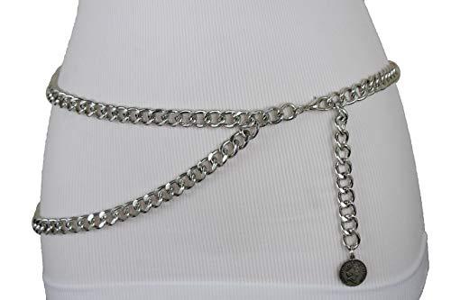 TFJ Women Fashion Belt Hip High Waist Metal Chain Links Coin Charm XS S M Silver ()
