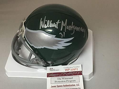 (Autographed/Signed Wilbert Montgomery Philadelphia Eagles Football Mini Helmet JSA COA)