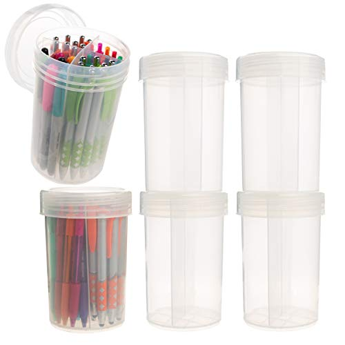 Advantus Corp (6 Pack) 30oz Plastic Storage Containers with Dividers Lids Craft Pen Desk Organizer 30 Ounce Plastic Container