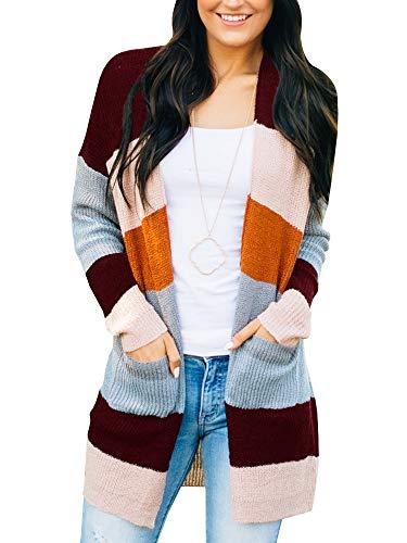 Imily Bela Womens Rainbow Cardigans Lightweight Crochet Drape Knitted (Jean Stripe Sweater)