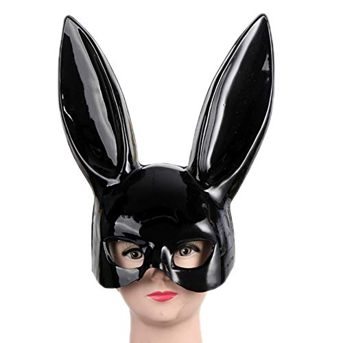 Women's Masquerade Rabbit Bunny Mask for Birthday Easter Halloween Eve Party Costume Masks(Bright Black)]()