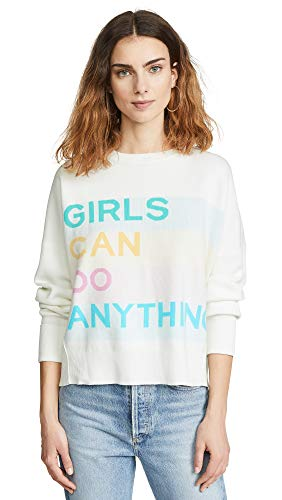 - Zadig & Voltaire Women's Girls Can Do Anything Sweatshirt, Judo, Graphic, Off White, Small