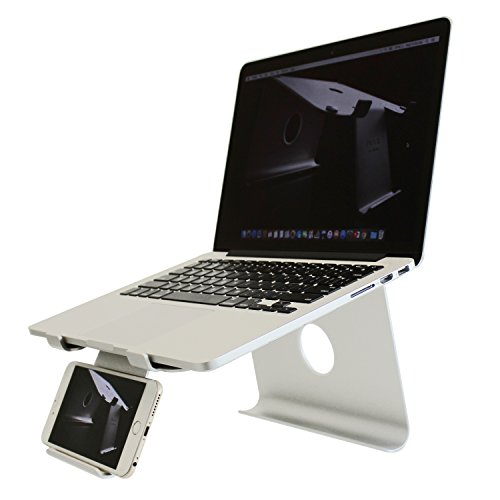 DiiZiGN THE BEST Laptop Stand with Smart Phone Holder (MODEL-N, LIGHT SILVER) by DiiZiGN