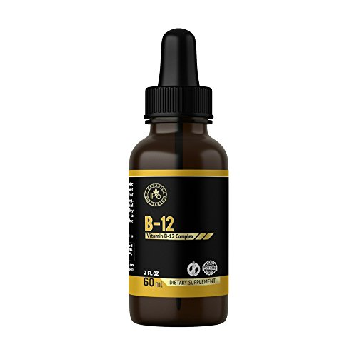 iPro Organic Supplements Vitamin B-12 2 oz Liquid Drops for Healthy Nervous Tissue Boost Energy Metabolism Immune System Mood Skin Fatigue Mineral Deficiency Memory Loss Anemia Mental Function