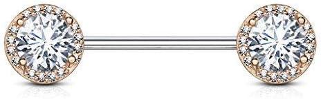 Tapsi´s Coolbodyart®| Brustwarzen Nippelpiercing Chirurgenstahl 316L Gold,Roségold 14 Karat, Silber Kugeln Zirkonia