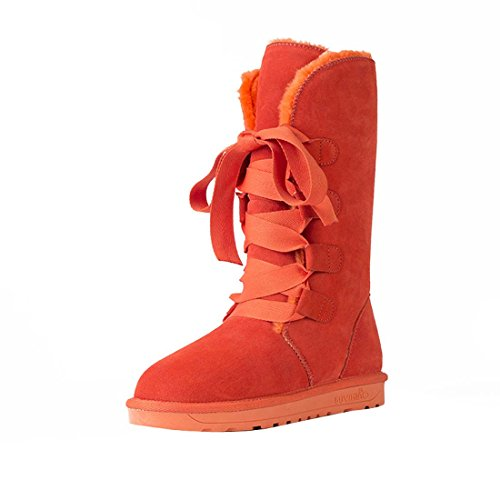HooH Damen Leder Lace Up Winter Warm Schneestiefel 5896 Orange
