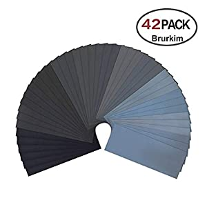 42 Pcs,9x3.6 Inches Sandpaper 120 To 3000 Assorted Grit Wet and Dry Sandpaper for Automotive Sanding Wood Furniture/Turing Finishing Medal Working