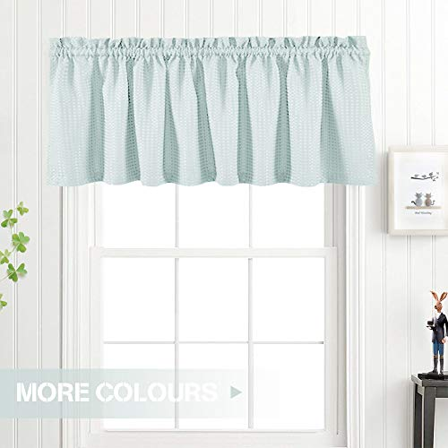 Valance Light Teal 18 inch Kitchen Window Curtain Living Room Bedroom Waterproof Bathroom Curtains Valance Panel Sold Individually (Window Curtains And Valances)
