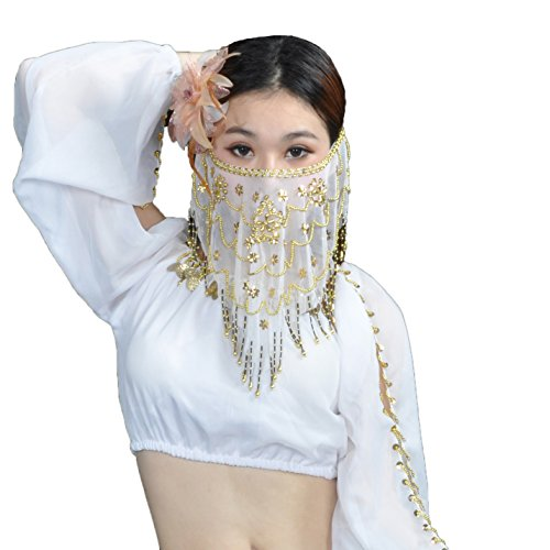 Seawhisper Belly Dance Sequins Tribal Face Veil With Beads Halloween Costume Accessory White ()