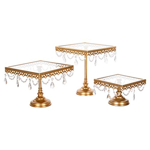 Amalfi Decor Square Cake Stand Set of 3 Pack, Dessert Cupcake Pastry Candy Display Plate for Wedding Event Birthday Party, Glass Top Metal Pedestal Holder with Crystals, Gold
