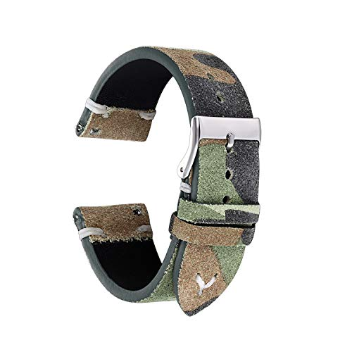 Lorica Strap - Straps Guy 20mm Suede Leather Quick Release Watch Band Strap, Lorica Inner Liner, Stainless Steel Buckle, USA Thread Minimalist Stitching, Camouflage Pattern in Green Camo