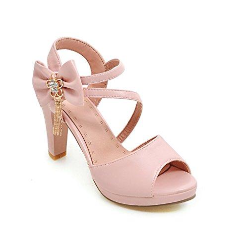 Sandalias Bloque Peep Tacones De Qin Pink Toe Mujer amp;x 0HwqX5B