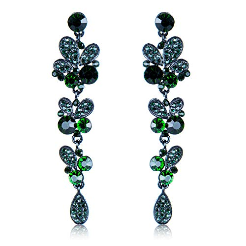 Ybest Butterfly Earring Crystal Rhinestone Chandelier Dangle Earrings Wedding Night-Out Party Any Occasion (Dark Green)