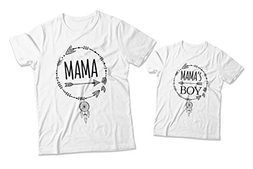Mama And Mama's Boy Matching Shirt Custom Printed Shirt Mommy And Me Statement T-Shirt Birthday Party Printed Cotton Shirt Durable Personalized Shirt Party Shirt Supply ()