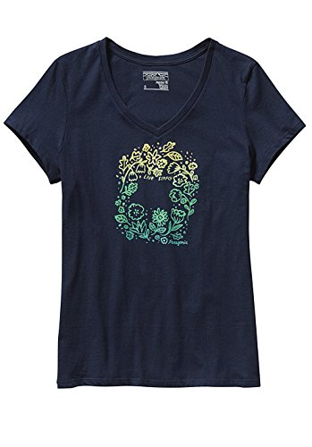 Live Simply Homegrown Cotton V-Neck - azul marino