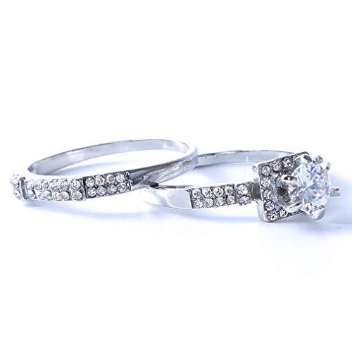 SOURBAN 2pcs Women Alloy Zircon Rhinestone Wedding Finger Rings Set Stackable Bridal Jewelry,6 ()