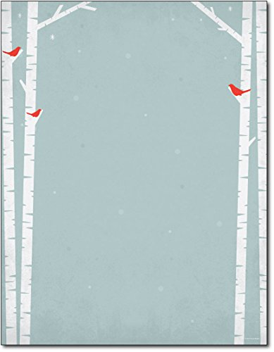 Holiday Stationery (Birch Tree Silhouette Holiday Paper - 80 Sheets)