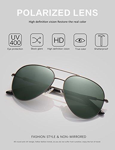 de Lunettes Soleil Étui Vert Métal Polarisé 17 Poids Homme UV Avec gris Protection 60mm 400 Léger Monture LUENX Lunettes E7wRRA
