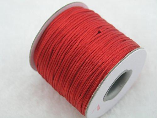 KONMAY 80 Yards 1.0MM Rattail/Bugtail Satin Silk Cord Shamballa Macrame Beading Nylon Kumihimo String (Red 700)