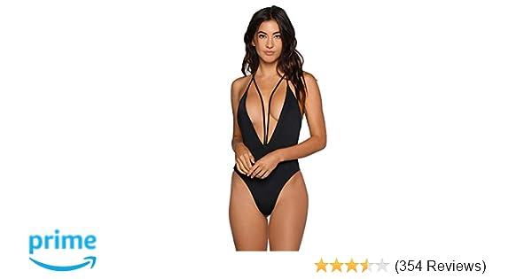 fe56a9add3b3b Zero City Women Monokini Swimsuits One Piece Bathing Suit Deep V Backless  at Amazon Women s Clothing store