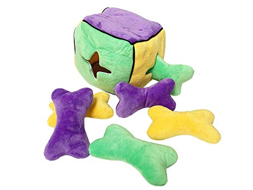 Midlee Plush Interactive Find a Bone Cube Dog Toy- Challenge Your Dog