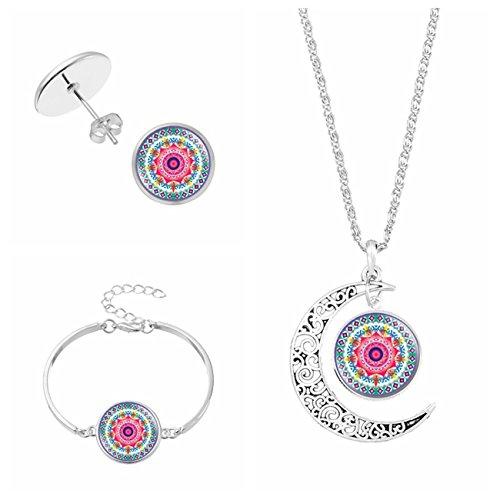 FIONUSUM Mandala Flower Ear Stud Necklace Pendant Bracelet Wristband Set (Flower Pendant Bracelet)