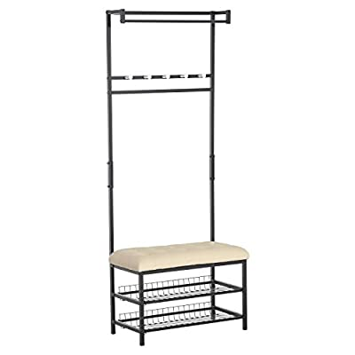 "HOMCOM 81"" Tall Adjustable 2 Tier Faux Leather Ottoman Bench Shoe Shelf Coat Rack - Cream White - ✅ALL IN ONE ENTRY BENCH: The perfect bench for your front hall, mudroom, or entry with ample storage for shoes, jackets, purses, along with a convenient faux Leather cushion seat for dressing. ✅AMPLE STORAGE SPACE: This rack features a two-tier under seat rack, designed for sneakers, loafers, and flats, and an adjustable rail with five hooks and an overhanging clothing rod. ✅DURABLE AND STYLISH: Built on a high-quality, rust-resistant steel tube frame with a durable, easy clean faux leather bench that can support up to 220 lbs, this rack will be lasting and useful from season to season. - hall-trees, entryway-furniture-decor, entryway-laundry-room - 41v%2Bk5YQuYL. SS400  -"