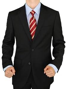 B00DP7PZ5U Presidential Giorgio Napoli 2 Button Mens Suit Modern Business Fit Pure Black (40 Regular US)