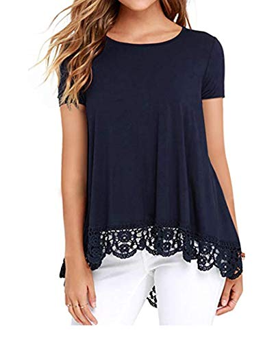 RICHPORTS Women Tee Shirts Plus Size Casual Loose Tops Blouses Tunic Navy Blue XL