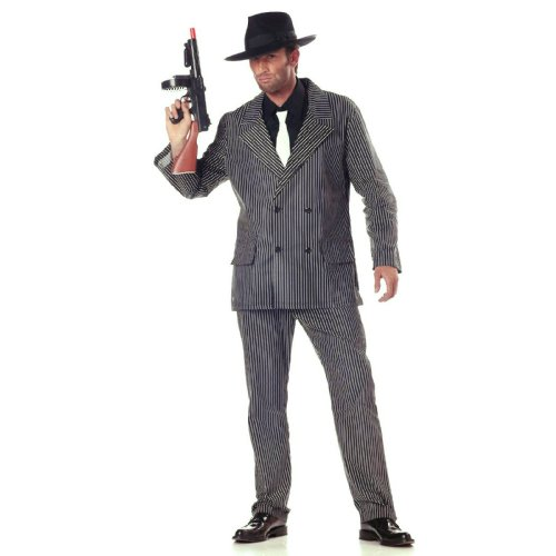 Roaring 20s Gangster Costumes (California Costumes Men's Gangster Costume, Gangster Stripe, X-Large)