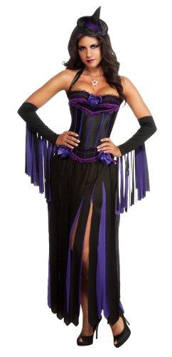 Secret Wishes Fringed Witch Costume, Purple/Black, (Fringed Gauntlet)