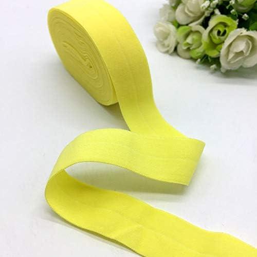 "LZDD 5ヤード3/4"" (20ミリメートル)弾性リボンゴムバンド多目的スパンデックスリボン縫製レースファブリックバンドガーメントアクセサリー (Color : Yellow)"