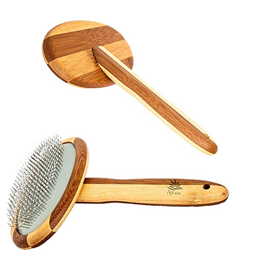 AtEase Accents Natural Bamboo Eco Pet Grooming and Deshedding Slicker Brush for Short and Long Haired Dogs and Cats