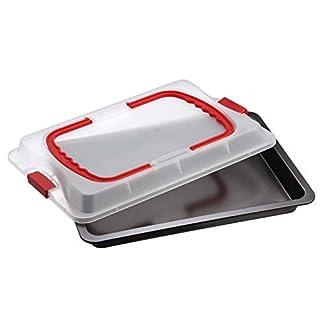Dr. Oetker Backblech 3in1 mit Transporthaube, Ofenblech zum Backen, Aufbewahren & Transportieren, als Pizza-, Auflauf- & Kuchenblech, Maße: 42 x 29 cm 8