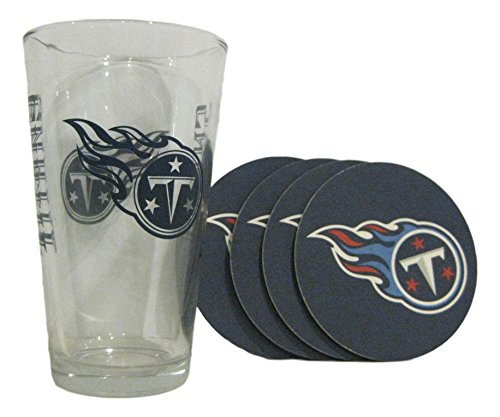 Tennessee Titans NFL NEW DESIGN 16oz Logo Pint Glass & 4 Piece Coaster - Tennessee Mug Titans