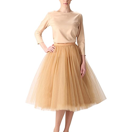 (Wedding Planning Women's A Line Short Knee Length Tutu Tulle Prom Party Skirt X-Large Dark Champagne)