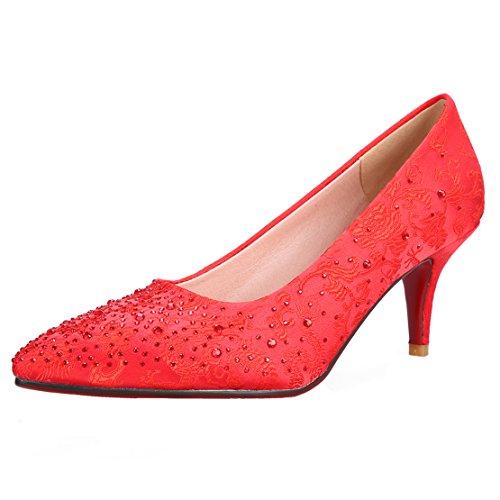 AIYOUMEI Damen Spitz Satin Kitten Heel Pumps mit Strass und Blumenmuster Kleiner Absatz Schuhe rot(strass7cm)