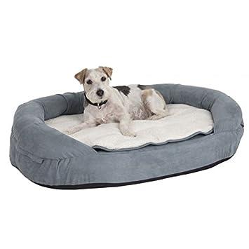 De espuma con efecto memoria para cama con cojín frontera resistente, forma ovalada: Amazon.es: Productos para mascotas