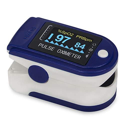 WOTOW Pulsómetros oximetro, Digital Oxímetro de Pulso Pulsioxímetro de Dedo con Pantalla LED, Monitor de Frecuencia Cardíaca y Medidor de Oxígeno en Sangre SpO2 para Hogar y Profesional, Adultos y Niños, Uso Deportivo