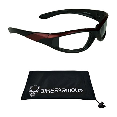 Biker Night Riding Glasses Foam Padded with Orange Frames for Men and Women. Safety Polycarbonate Clear Lenses. Free Microfiber Cleaning - Men Gogles