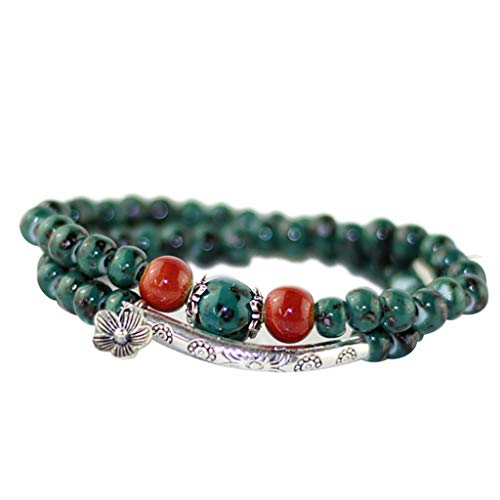 -  Orcbee  _Literary Retro Handmade Ceramic Beads Double Bracelet Ladies Jewelry Gift (A)