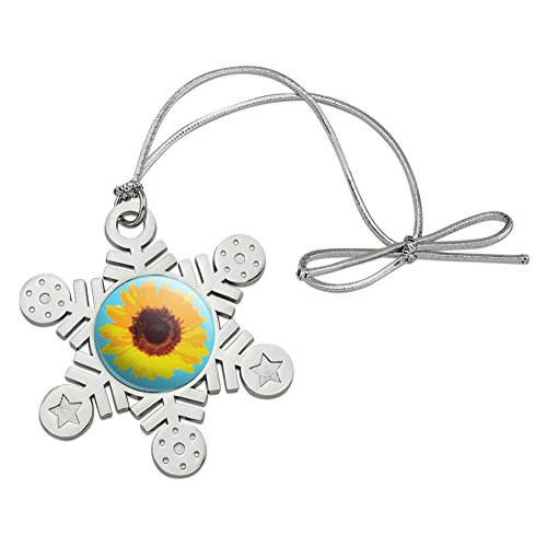 Graphics and More Sunflower Drawing on Blue Background Metal Snowflake Christmas Tree Holiday Ornament