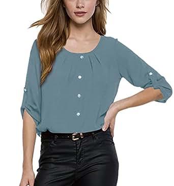 ISSHE Blusa Gasa Cordón Blusas Manga Larga Para Dama Camisas de Mujer Blusones Camisetas Largas Juveniles Top Cuello Redondo Tops Camisa Elegantes Anchas Verano Color Solido Azul Eléctrico S