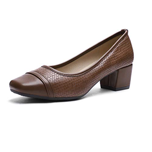 (Pumps for Women Chunky Heels Brown)