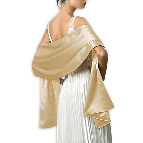 LANSITINA Women's Solid Color Satin Shawl Wraps for Evening Dress/Wedding Party,Champagne