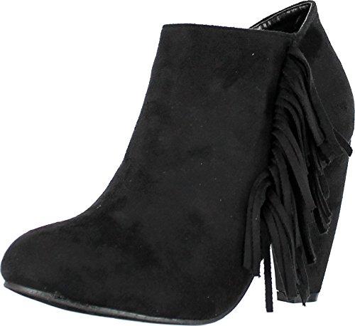 Price comparison product image Adriana Tuner-25 Women's Cone Heel Fringe Deco Ankle Booties, Black