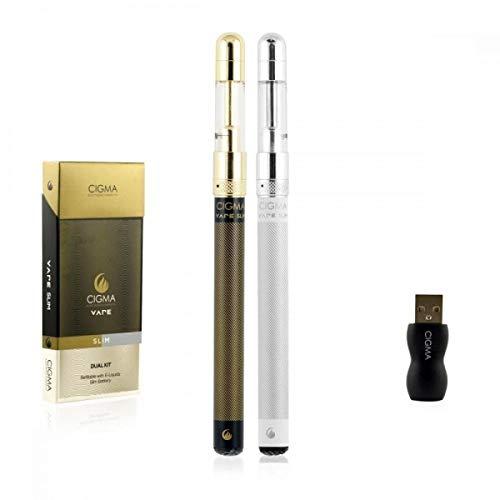 Cigma Vape Slim Doppelpack | 2x Die Kleinste und Dünnste, Auflad- und Nachfüllbare E-Zigarette der Welt | E-Zigarette…
