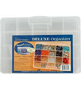 Darice Deluxe Organizer, 20 Craft Storage Spaces for beads Small Parts and Supplies 10.68 x 7.56 x 1.68 inches