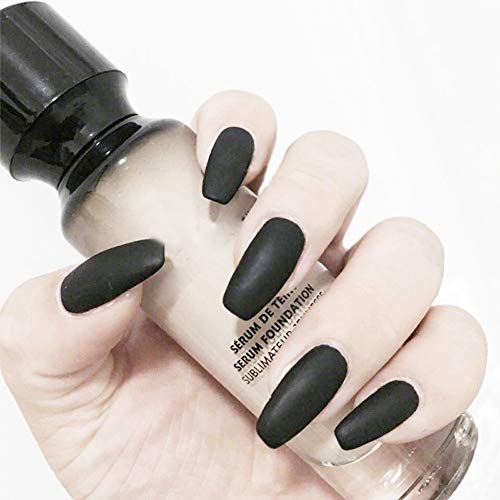 Aegenacess 24Pcs False Nails Medium Coffin Fake Design Black Matte Press On Gel Nail Acrylic Artificial Manicure Tips French With Double Sided Stickers for Women and Girls -